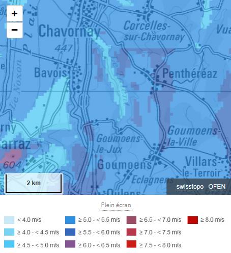 Atlas des vents avec données de mesure actualisées